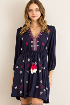 Solid crinkle rayon embroidery babydoll dress featuring drawstring on front waist. Navy Dress, Babydoll Dress, Work Attire, Outfits For Teens, Dress To Impress, Boho Fashion, Floral Tops, My Style, Boho Style