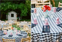 How elegant does this long table look draped in thick black and white stripes?