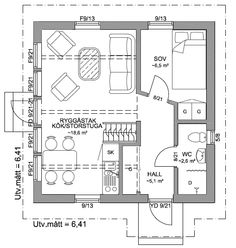 Planlösning Small Space Living, Living Spaces, Apartment Floor Plans, Beach Cottage Style, Tiny House Plans, Prefab, Small Apartments, House Rooms, Architecture
