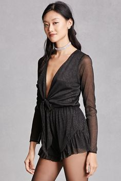 A semi-sheer metallic knit romper featuring a self-tie knotted front with a cutout, plunging V-neckline, stretch-knit underlayer, elasticized waist, a ruffled hem, and long sleeves. This is an independent brand and not a Forever 21 branded item. (This item runs large, please size down.)