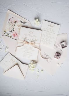 c13b1b121789 The Caroline Suite — Rebecca Green Design. Gold Wedding InvitationsWedding  ...