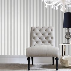 Gray Ticking Stripe Wallpaper - Gray Stripes Wall Coverings by Graham Brown