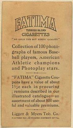 1914 Fatima (T222) #7 Roger Bresnahan Back