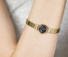 Lady watch bracelet Cornavin black face cocktail by SovietEra