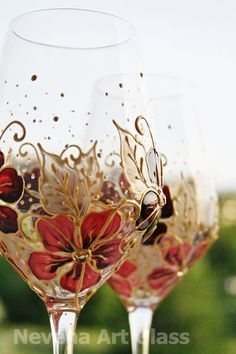 CRYSTAL WINE Hand Painted Glasses Burgundy Coral Pink Gold Swarovski Crystals Floral Design set of 2