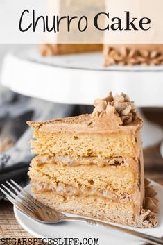Churro Cake Recipe – Sugar Spices Life This Churro Cake has soft ,cinnamon cake layers with a rich praline filling, and a buttercream frosting with melted dark and white chocolates mixed in. This is hands down one of the best cakes you will ever eat. Delicious Cake Recipes, Best Cake Recipes, Cupcake Recipes, Yummy Cakes, Baking Recipes, Sweet Recipes, Cupcake Cakes, Dessert Recipes, Favorite Recipes