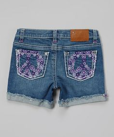 Blue Wash Flower Power Denim Shorts - Toddler & Girls by Vigoss #zulily #zulilyfinds