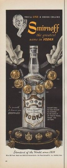 """Description: 1952 SMIRNOFF VODKA vintage magazine advertisement """"You'll Like A Vodka Collins"""" -- Smirnoff -- the greatest name in Vodka ... So smooth it leaves you Breathless ... Smirnoff Vodka has been honored for excellence by the courts of old Imperial Russia, Sweden, Italy and Spain. Standard of the World since 1818 -- Size: The dimensions of the half-page advertisement are approximately 5.25 inches x 14 inches (13.25 cm x 35.5 cm). Condition: This original vintage half-page…"""
