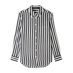 Equipment Classic Archive Strip Print Shirt (515 AUD) ❤ liked on Polyvore featuring tops, blouses, shirts, haut, striped blouse, striped shirt, button front shirt, strip shirt and silk shirt