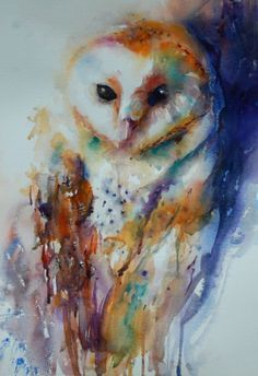 abstract watercolor barn owl - Google Search