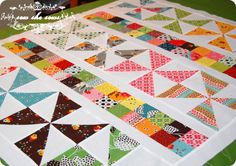 Pinwheels and Postage Stamp baby quilt using charm pack by sewshesews
