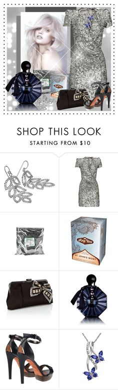 """""""Silver St. John's Wort"""" by pixidreams ❤ liked on Polyvore featuring Blue Nile, French Connection, Yogi, Oasis, Lanvin, Lord & Taylor, high heel sandals, silver dress, leaf chandelier earrings and butterfly pendant"""