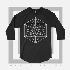 Image of Unisex 3/4 Sleeve 0003  decah #decah #healthgoth #decah.one #apparel #art #design #streetfashion #aesthetic #noir #contrast #geometry #minimalist #black #white #love #infinity