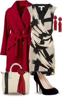 """Red Coat"" by yasminasdream on Polyvore"