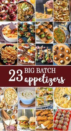 23 BIG BATCH APPETIZERS perfect for feeding a crowd on game day! The BEST appetizer recipes to feed lots of people while tailgating, especially perfect for the SUPERBOWL! women beauty and make up Today we've got big batch appetizers for parties, ge Best Appetizer Recipes, Appetizers For A Crowd, Finger Food Appetizers, Appetizers For Party, Avacado Appetizers, Tailgating Recipes, Prociutto Appetizers, Mexican Appetizers, Halloween Appetizers