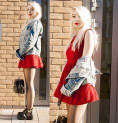 Udobuy Little Red Dress, Udobuy Messenger Shoulder Bag, Cut Out Boots