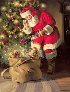 A Gift for Santa Canvas Giclee depicts Santa Claus putting a present under the Christmas tree Christmas Puppy, Father Christmas, Retro Christmas, Santa Christmas, A Christmas Story, Christmas Clipart, Santa Claus Images, Vintage Santa Claus, Christmas Scenes