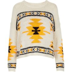 TOPSHOP Knitted Hairy Aztec Jumper ($84) found on Polyvore