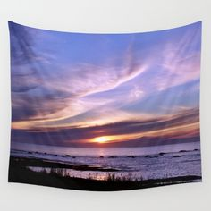 Sunset Swirls Above the Sea Wall Tapestry