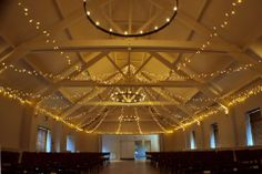 Wedding lighting - fairy light star canopy in the Ballroom at Stoke Place by Oakwood Events