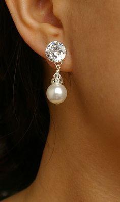 Cubic Zirconia & Pearl Bridal Earrings STERLING by luxedeluxe, $52.00
