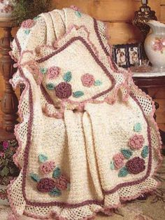 Free Crochet Flowered Arans Afghan Pattern