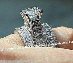 14k White Gold Sterling Silver Round Diamond Cut Engagement Ring Wedding Set 5-9