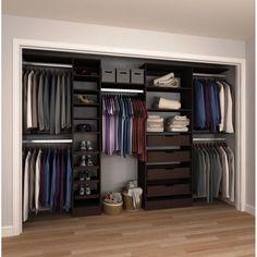 84 in. H x 90 in. to 180 in. W x 15 in. D Mocha (Brown) Melamine Reach-In Closet Kit