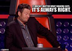 Blake Shelton: It doesn't matter what Shakira says....