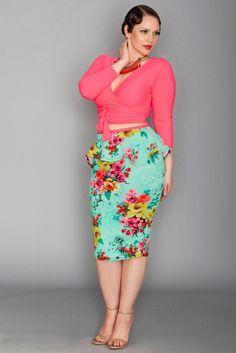 Ashlee Skirt - Hot Mint Floral