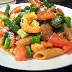 Cajun beef & chipotle shrimp penne - Guy Fieri recipe :)