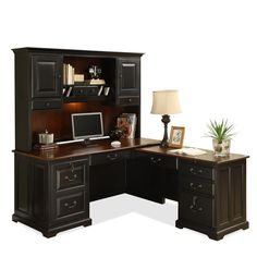 L Shaped Computer Desk With Hutch Antique Black / Burnished Cherry By  Riverside   1