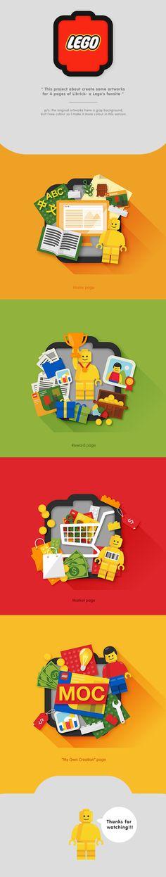 Illustrations of LiBrick by Tú Bùi, via Behance really really really cute :3