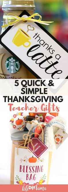 8 Quick & Simple Thanksgiving Teacher Gifts - - It's Thanksgiving- the season we all settle in to reflect on our blessings. And while Thanksgiving isn't necessarily all about the gifts like Christmas, it's still a time we like…. Fall Teacher Gifts, Thanksgiving Teacher Gifts, Daycare Teacher Gifts, Teacher Gift Baskets, Fall Gifts, Teacher Appreciation Gifts, Teacher Tote, Employee Appreciation, Simple Teacher Gifts