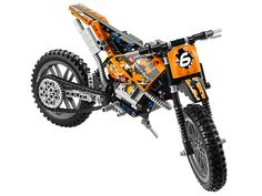 Tear up the trails on the awesome Moto Cross Bike! This tough-as-dirt LEGO® Technic 2-wheeler has lots of authentic features, like chain-drive, working pistons, front and rear suspension and knobby tires. This cool 2-in-1 model is just like the real thing! Rebuilds into a racing Speedway Motorbike with front suspension, rear suspension and engine with moving pistons. Ages 9-16 / 253 Pieces / $40