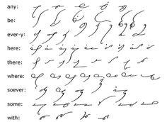 Shorthand Alphabet, Shorthand Writing, Alphabet Symbols, Writing Practice, In Writing, Consonant Blends, Longest Word, Maskcara Beauty, Compound Words