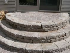 These half-moon block steps, inset with patio pavers create a beautiful alternative to wooden steps. Consider this not only for patio doors, but front entrances as well. Patio Steps, Outdoor Steps, Garden Steps, Brick Steps, Cement Steps, Backyard Projects, Backyard Patio, Backyard Landscaping, Gazebo