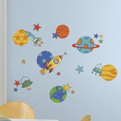 Planets and Rockets Wall Decal