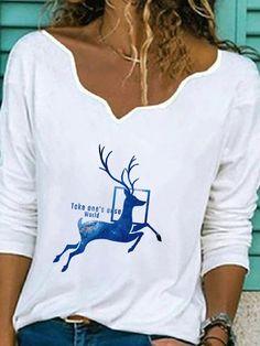 Cartoon Printed Long SLeeve Ruffled Casual T shirt For Women P1778366, #07 / US 14