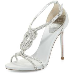 Rene Caovilla Twist-Strap Crystal-Embellished Sandal found on Polyvore featuring shoes, sandals, heels, silver, glitter sandals, special occasion shoes, special occasion sandals, ankle strap sandals and rene caovilla shoes