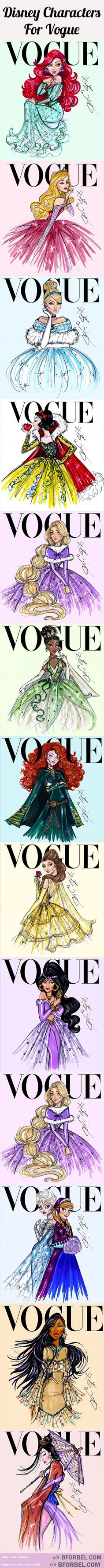 13 Disney Princesses Pose For The Cover Of Vogue…