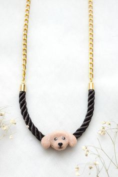 Cream Poodle Clay Necklace Handmade Animal Clay Miniature