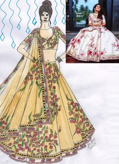 Blest Off White Raw Silk Designer Lehenga Choli Online Dress Design Sketches, Fashion Design Sketchbook, Fashion Design Drawings, Fashion Sketches, Fashion Illustration Dresses, Dress Illustration, Lion Painting, Frock Fashion, Choli Designs