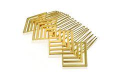 Gold Hair Comb, Geometric bridal hair accessories for wedding - Armani. $42.00, via Etsy.