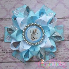 Frozen Olaf The Snowman Loopy Flower Hair Bow by PixiePretties