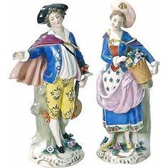 Antique 18th-C Chelsea Porcelain Figurines, Pair