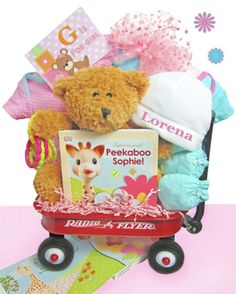 Baby Girl Gift Baskets, Baby Shower Baskets, Baby Shower Gifts, Gifts For Newborn Girl, Baby Girl Gifts, New Baby Gifts, Unique Baby Gifts, Personalized Baby Gifts, Radio Flyer Wagons