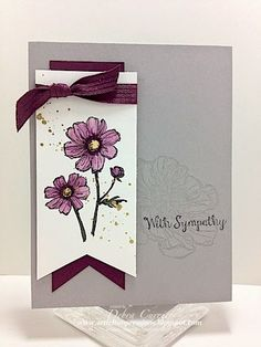 Stampin' Up! ... handmade sympathy card from ARTfelt Impressions: Smoky Bliss ... gray, white and maroon ... double fishtail banner with longer and narrower one below ... lovely card ...