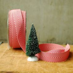 Peppermint Red and White Chevron Ribbon 1 yard Vintage Style Twill Tape Candy Cane Stripe Spearmint. $0.50, via Etsy.