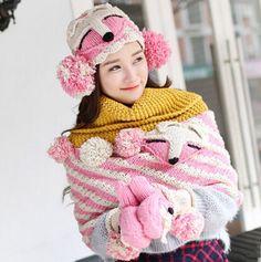 Fox knit hat scarf and gloves set for girls winter wear best birthday gift